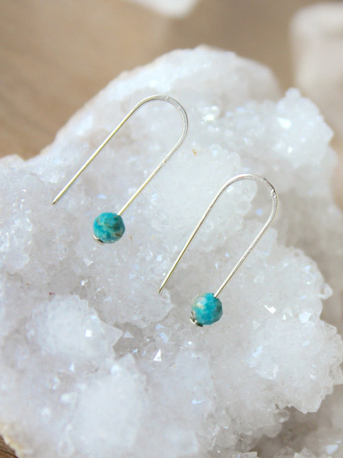 Genuine Turquoise threader earrings (Gold + Silver)