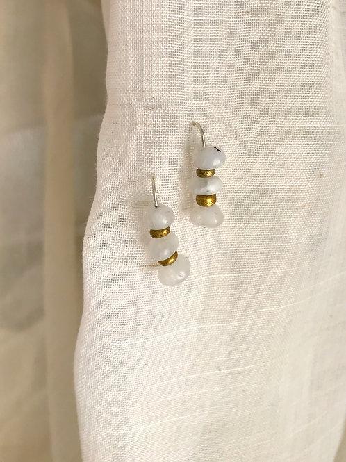 Moonstone + Brass threader earrings