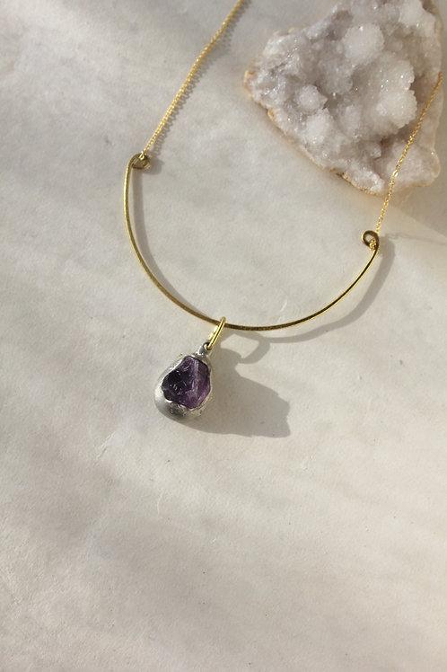 Amethyst & Brass Teardrop Necklace