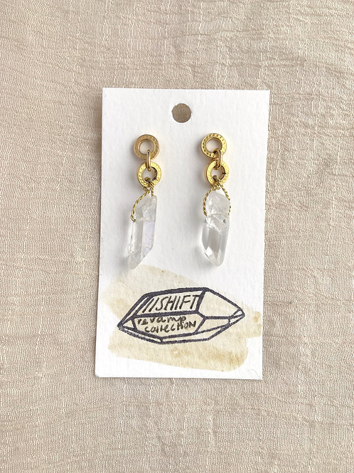 /SHIFT/ Double loop Quartz earrings