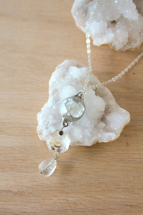 Quartz & Crystal Drop Necklace