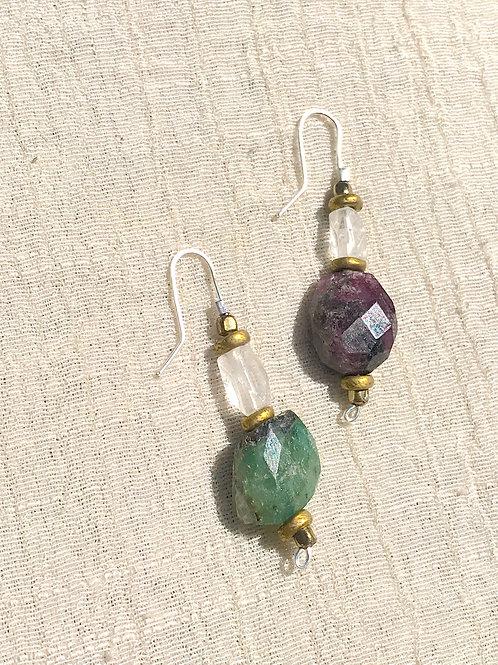Tourmaline mismatched earrings