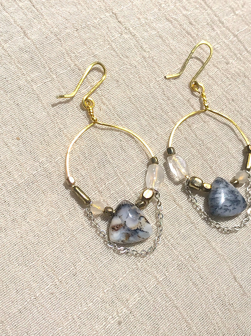 Dendritic Agate + Moonstone loop earrings