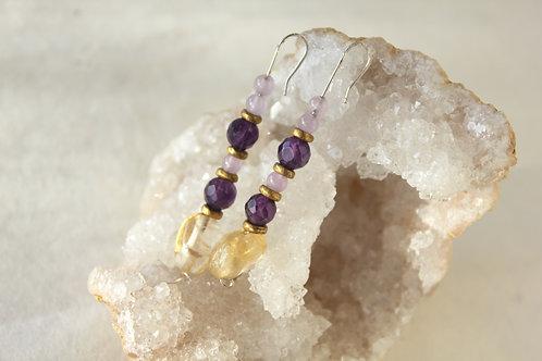 Citrine & Amethyst stack earrings
