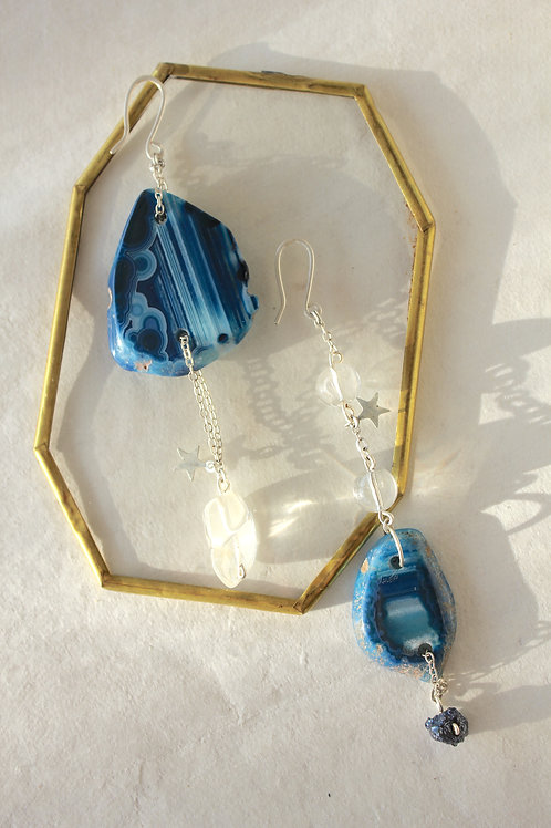 Mismatched Indigo Agate slice earrings