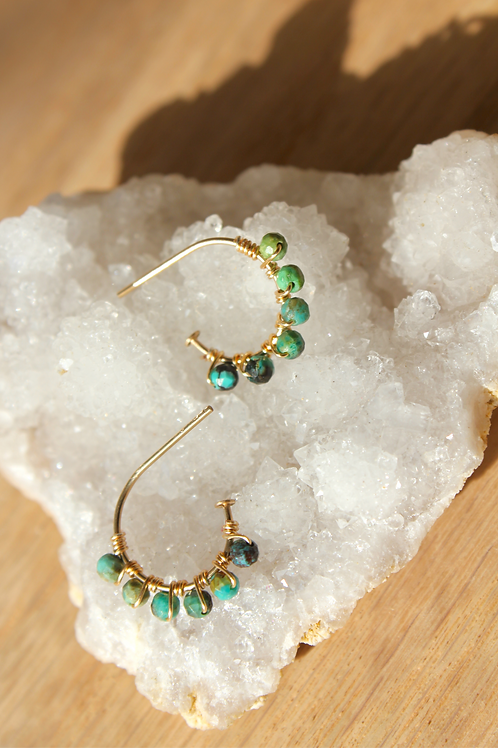 Turquoise+ 14k Gold Tiny Hoops