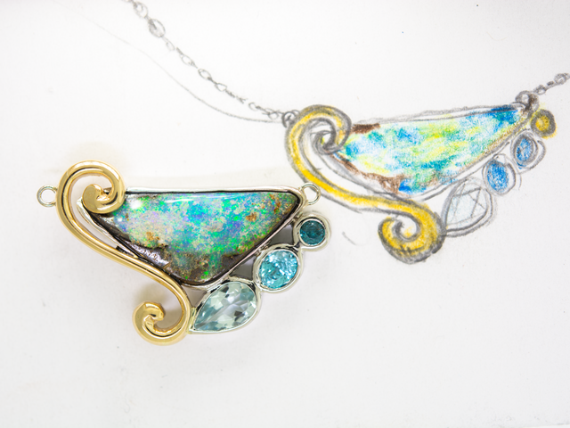 Custom Opal and Tanzanite Necklace