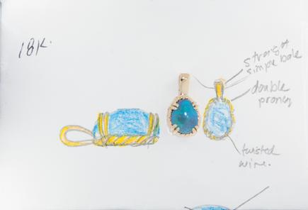 Opal and Yellow Gold Custom Pendant