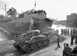 WWII - Offloading Tanks From Ship
