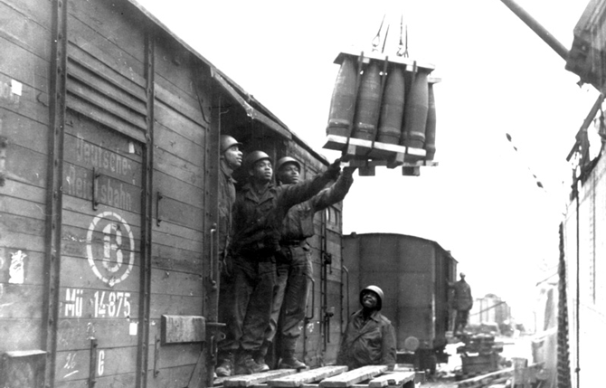 Loading Artillery Shells on Train