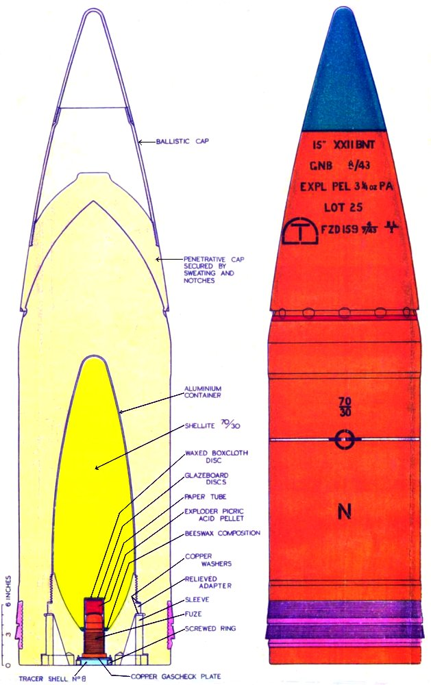 BL 15-in Chap MK22 Shell - 1943 Diagram