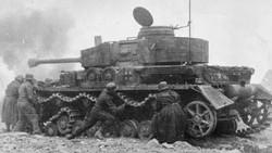 German Soldiers Repairing Tank Track