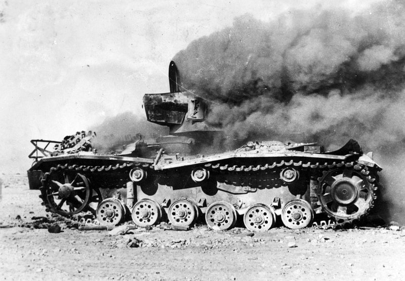 Burning PzkpfwIV Tank - Egypt 1943