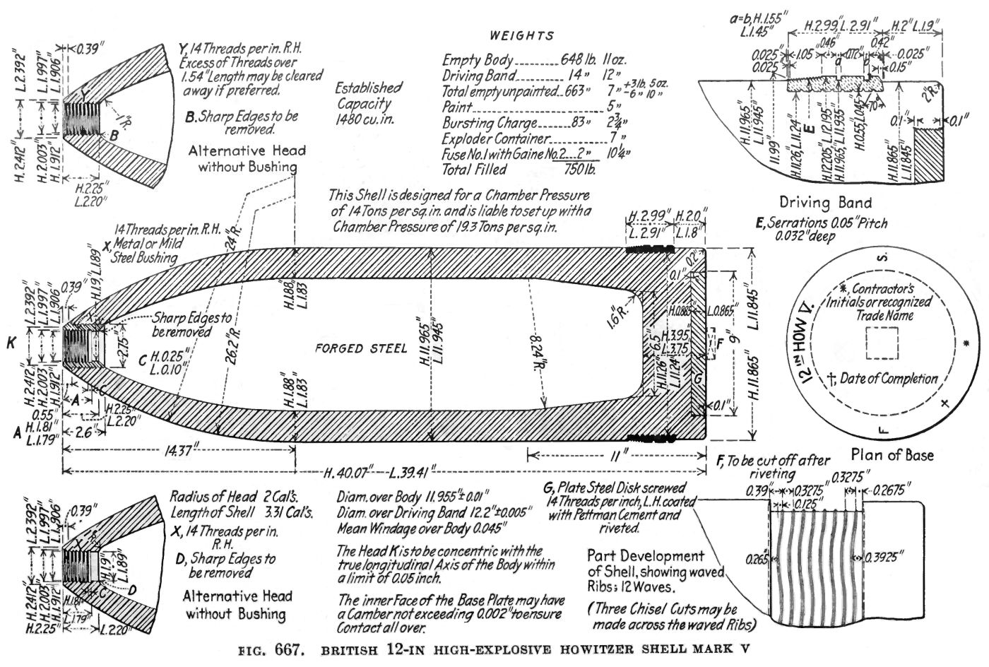 BL 12-inch Howitzer Shell - MkV Diagram