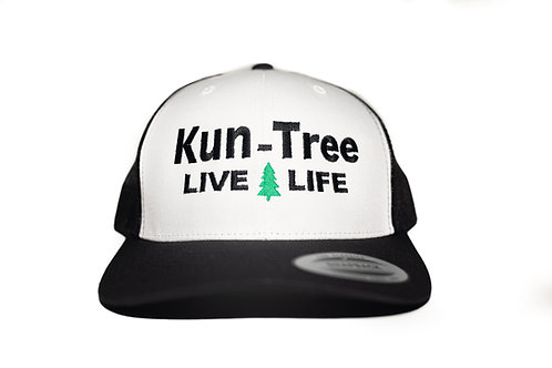 """Live Life"" Hat White, Black Bill w/ Black Mesh ""KunTree"" Snapback"