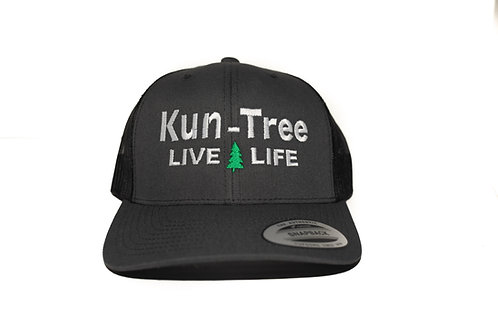 """Live Life"" Hat Charcoal w/ Black Mesh ""KunTree"" Snapback"