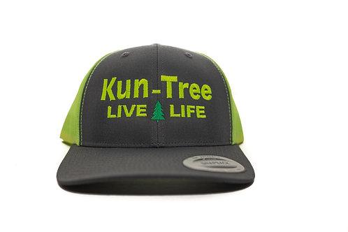 """Live Life"" Hat Charcoal w/ Neon Yellow Mesh ""KunTree"" Snapback"
