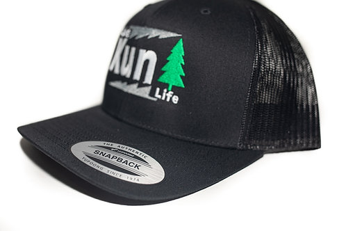 """Live Life"" Hat Black w/ Black Mesh ""KunTree"" Snapback"