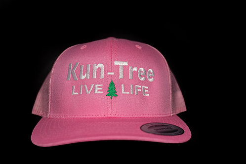 """Live Life"" Hat Pink w/ Pink Mesh ""KunTree"" Snapback"