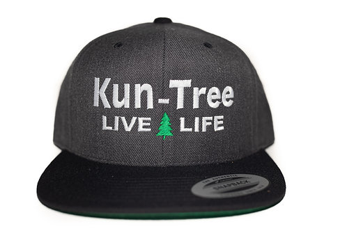 """Live Life"" Hat Charcoal, Black Bill ""KunTree"" Snapback"