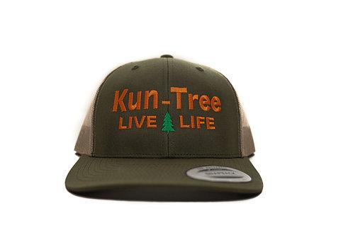 """Live Life"" Hat Dark Olive w/ Brown Mesh ""KunTree"" Snapback"