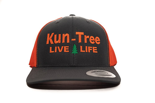"""Live Life"" Hat Charcoal w/ Neon Orange Mesh ""KunTree"" Snapback"