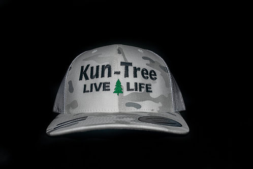 """Live Life"" Hat White Camo w/ White Mesh ""KunTree"" Snapback"