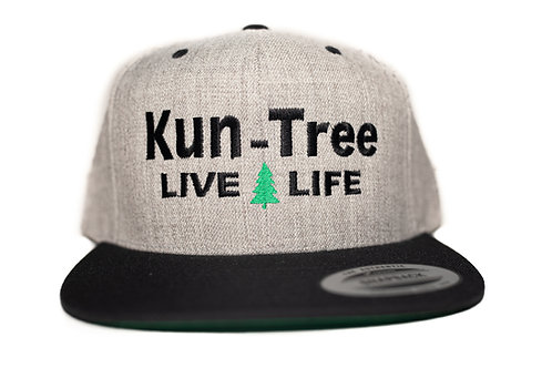 """Live Life"" Hat Gray, Black Bill ""KunTree"" Snapback"