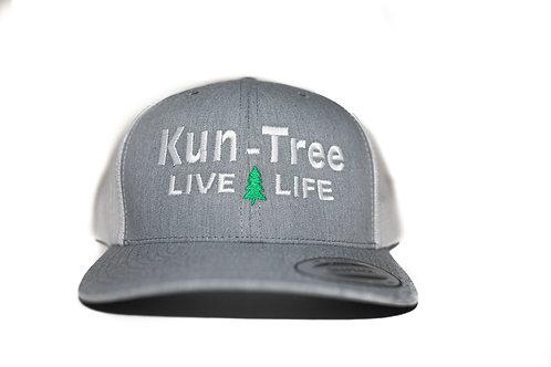 """Live Life"" Hat Gray w/ White Mesh ""KunTree"" Snapback"