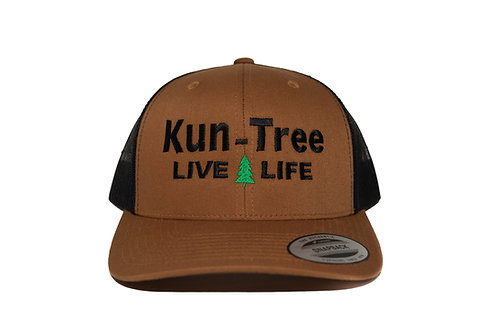"""Live Life"" Hat Brown w/ Black Mesh ""KunTree"" Snapback"