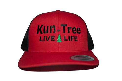 """Live Life"" Hat Red w/ Black Mesh ""KunTree"" Snapback"