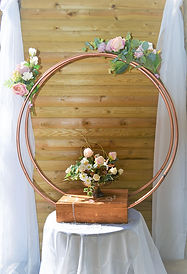 Copper hoop cake stand