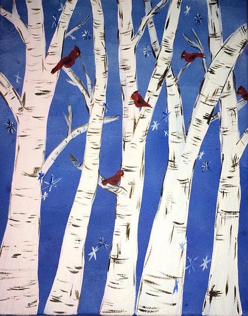 Cardinal Forest Canvas 11x14