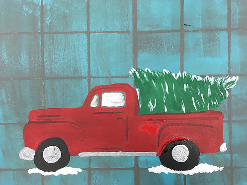 Christmas Truck Canvas 11x14