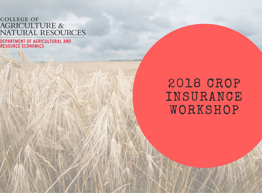 Save the Date: 2018 Maryland Crop Insurance Workshop is September 13 in Bowie