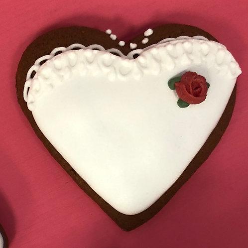 """Сердце """"Свадебное платье с красной розой"""""""