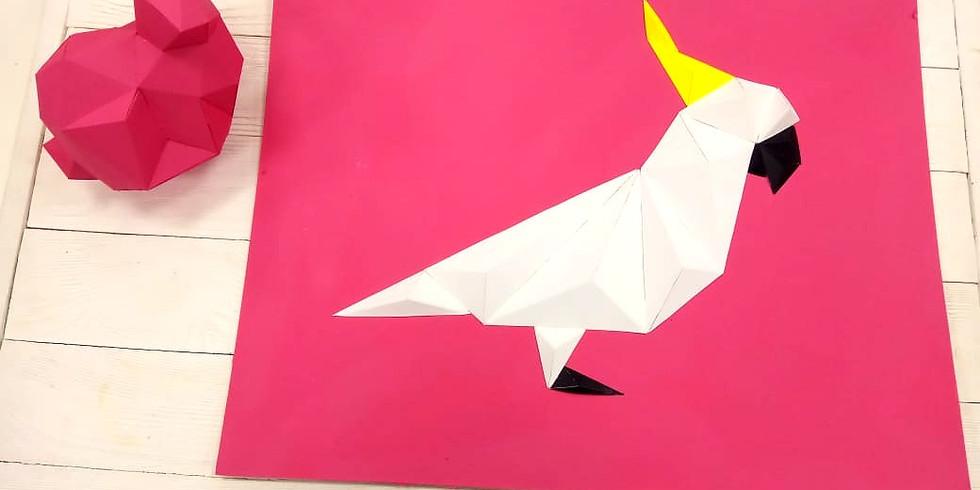 Курс по объемным фигурам из картона. Зайчонок и пано с попугаем