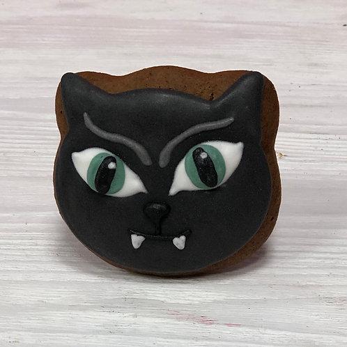 """Пряник """"Черный котик с клыками"""""""