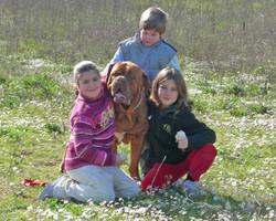 Matteo, Chiara e Tiziana con Thor