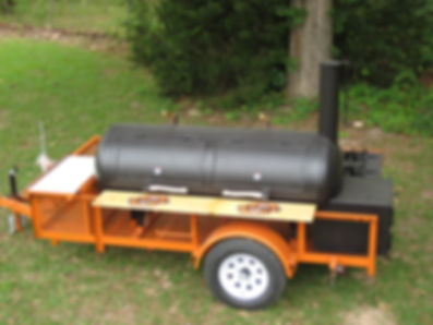 BBQ Custom Smoker on Orange Trailer