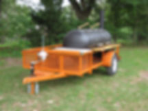 Orange Custom BBQ Trailer