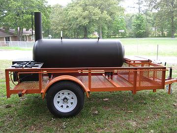 Side of BBQ smoker on trailer