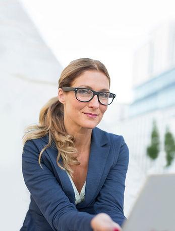 Businesswoman With Black Framed Glasses