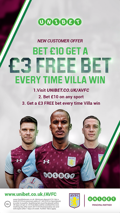 Aston Villa & Unibet | Main Offer Ad