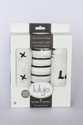 Mini Muslin Cloths- Black & White -3 Pack