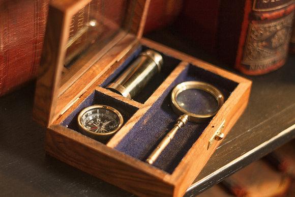 Marine Box – Telescope, Compass & Hourglass