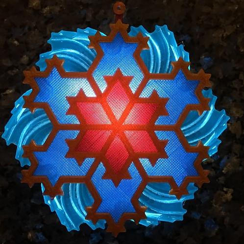 SnowFlake LithoPhane 3D Model