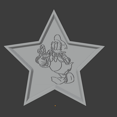 Donald Duck Holiday Star LithoPhane 3D Model