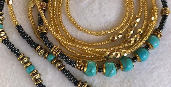 Bohemian Gold- Waist Bead & Anklet Set