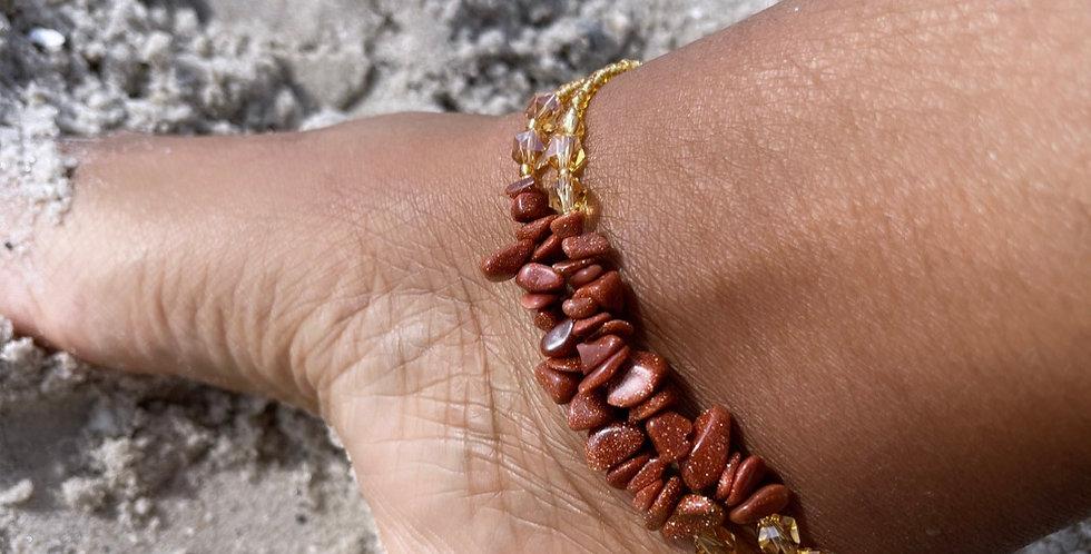 Goldstone Anklet